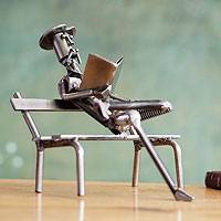 Upcycled motorcycle parts sculpture, 'Quixote Reading' - Upcycled Motorcycle Parts Sculpture