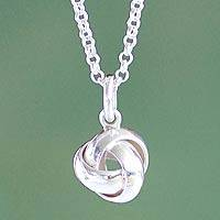 Sterling silver pendant necklace, 'Love Knot'