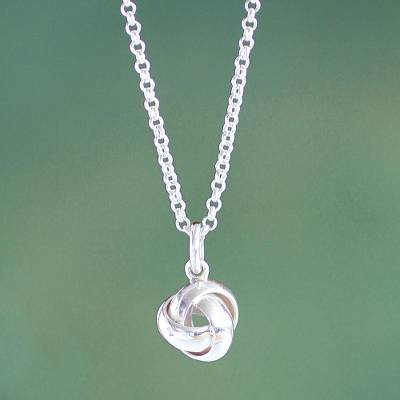 Sterling silver pendant necklace, 'Love Knot' - Modern Sterling Pendant Necklace