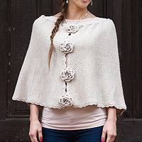 Alpaca blend capelet, 'Blossoming Beige' - Short Alpaca Blend Beige Cape with Floral Buttons