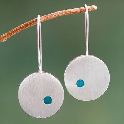 Chrysocolla dangle earrings, 'Moon Gazer' - Brushed Silver Earrings with Chrysocolla