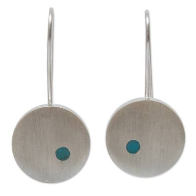 Brushed Silver Earrings with Chrysocolla