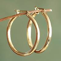 Gold vermeil hoop earrings, 'Minimalist Magic'