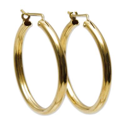 Gold vermeil hoop earrings, 'Minimalist Magic' - Classic Gold Vermeil Hoop Earrings
