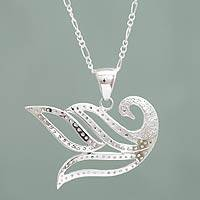 Sterling silver pendant necklace, 'Graceful Swan'