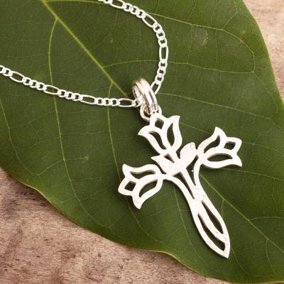 Sterling silver pendant necklace, 'Tulip Cross' - Textured Silver Floral Cross Necklace