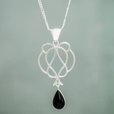 Obsidian pendant necklace, 'Midnight Tear' - Handmade Sterling Necklace with Black Obsidian