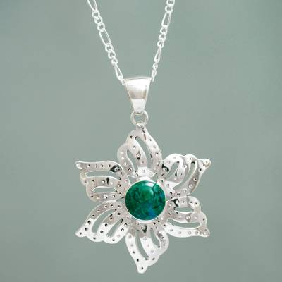 Chrysocolla flower necklace, 'Amaryllis' - Peruvian Artisan Crafted Chrysocolla Floral Necklace