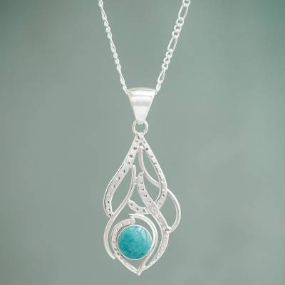 Amazonite flower necklace, 'Sweet Blue' - Fair Trade Amazonite Silver Necklace