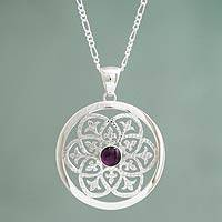 Amethyst pendant necklace, 'Sentiment' - Silver Silhouette Necklace with Amethyst