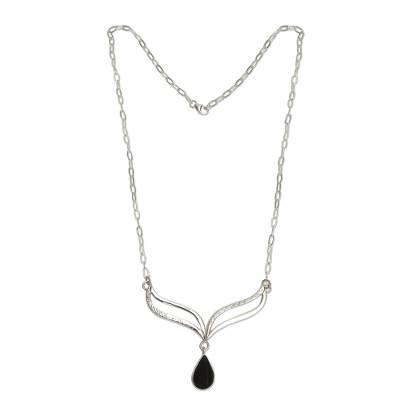 Andean Silver Necklace Set with Black Obsidian