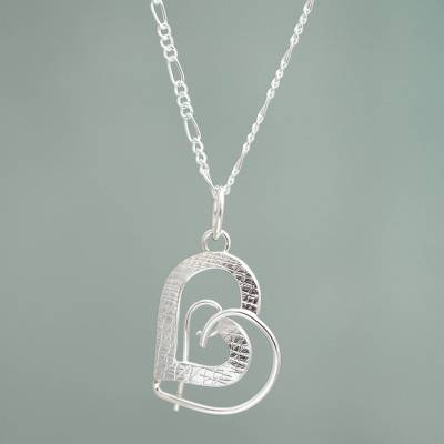 Sterling silver pendant necklace, 'In My Heart' - Fair Trade Silver Heart Necklace