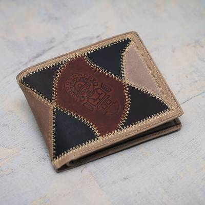 Men's leather wallet, 'Brown Tumi' - Men's Hand Made Leather Wallet from Peru