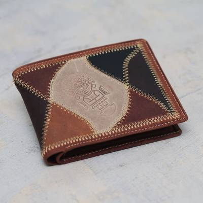 Men's leather wallet, 'Beige Tumi' - Men's Hand Made Leather Wallet from Peru