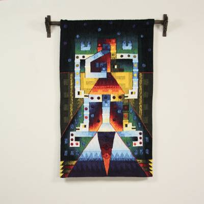 100% alpaca tapestry, 'Mixture' - Inca Abstract 100% Alpaca Tapestry from Peru