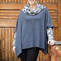 100% alpaca poncho, 'Snow Valley' - 100% Alpaca Poncho with Cowl Neck and Sleeves