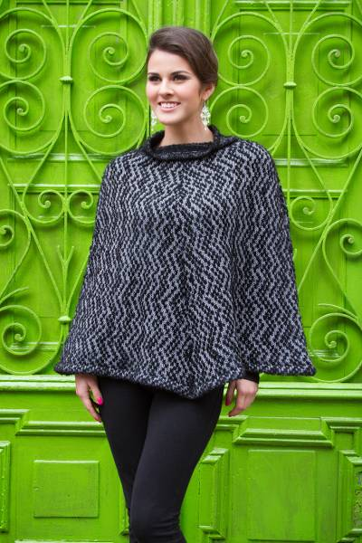 Alpaca blend poncho, 'Andean Shadow' - Knitted Grey and Black Baby Alpaca Blend Poncho
