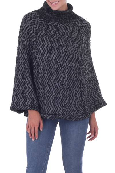 Knitted Grey and Black Baby Alpaca Blend Poncho
