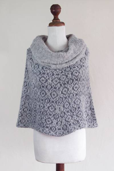 Alpaca blend poncho, 'Whispering Clouds' - Grey Cowl Neck Baby Alpaca Blend Poncho