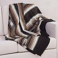 100% alpaca throw, 'Generous Earth' - Artisan Crafted 100% Alpaca Brown Striped Throw