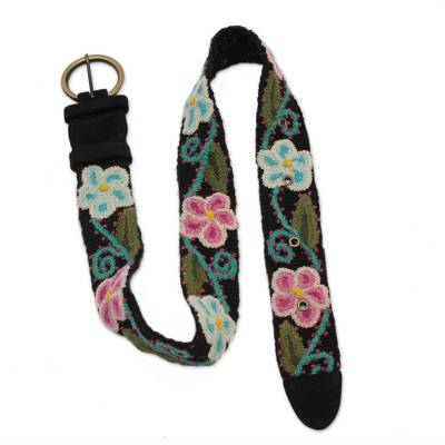 Wool belt, 'Huantla Surprise' - Hand Crafted Leather Wool Embroidered Belt from Peru