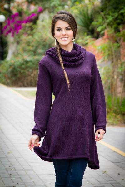Purple Alpaca Long Tunic Sweater - Winter Grape | NOVICA
