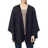 Alpaca blend ruana cloak, 'Ebony Sky' - Artisan Crafted Open Front Black Alpaca Blend Ruana