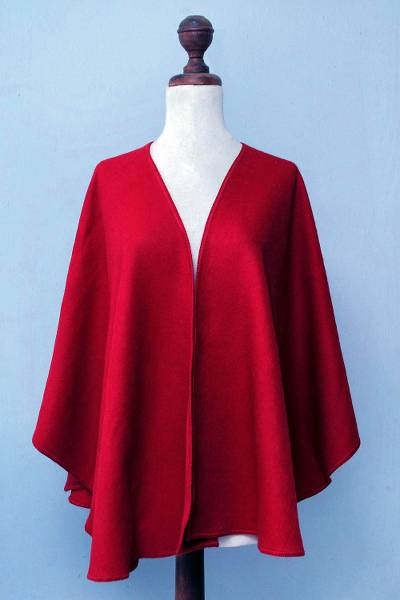 Alpaca blend ruana cloak, 'Scarlet Sky' - Artisan Crafted Open Front Red Alpaca Blend Ruana