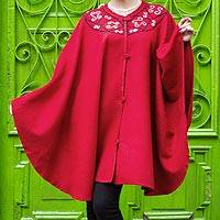 Alpaca blend ruana cloak, 'Elegant Red' - Red Alpaca Blend Ruana Cloak with Crochet Trim
