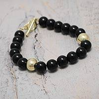 Gold vermeil obsidian beaded bracelet, 'Golden Night'