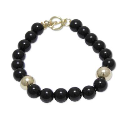 Gold vermeil obsidian beaded bracelet, 'Golden Night' - Handmade Gold Vermeil Beaded Obsidian Bracelet