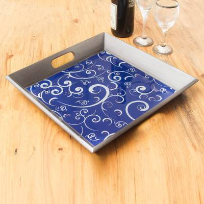 Painted glass tray, 'Scintillating Night' - Peruvian Hand Painted Glass Blue Silver Tray