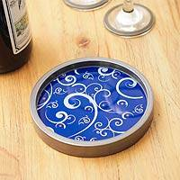 Painted glass bottle coaster, 'Scintillating Night' - Peruvian Hand Painted Glass Blue Silver Bottle Coaster
