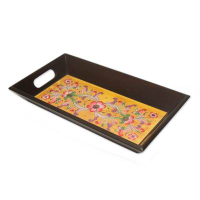 Painted Glass Floral Handmade Tray