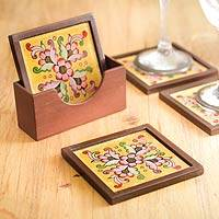 Painted glass coasters, 'Blushing Blooms' (set of 4) - Four Hand Painted Glass Coasters and Holder