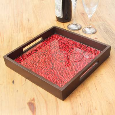 440d59a377fb Wood and glass tray, 'From the Jungle, its Fruit' - Peruvian Handcrafted