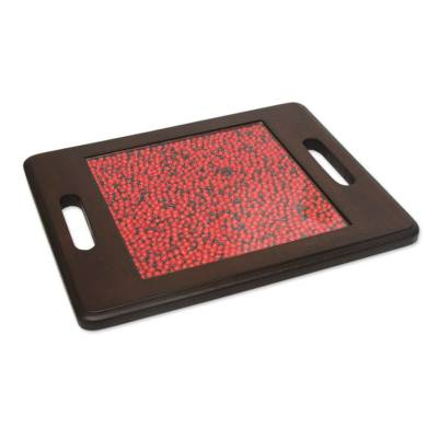 Peruvian Handcrafted Wood and Glass Trivet