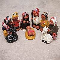 Ceramic nativity scene, 'Christmas Peace' (10 pieces) - Andean 10-Piece Ceramic Nativity Scene Set