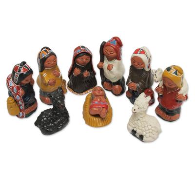 Andean 10-Piece Ceramic Nativity Scene Set