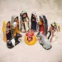 Ceramic nativity scene, 'Christmas in Quispicanchis' (10 pieces) - Peruvian 10-Piece Ceramic Nativity Scene Set