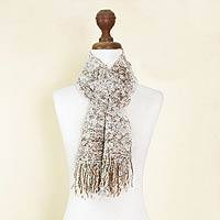 Alpaca blend scarf, 'Andean Paths' - Brown and White Bloucle Alpaca Blend Scarf