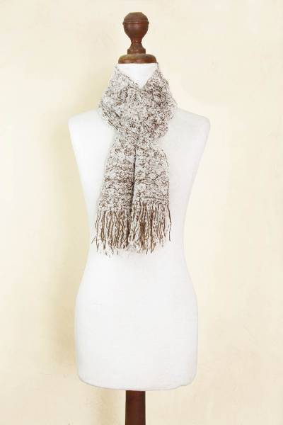 Alpaca blend scarf, 'Andean Paths' - Brown and White Bloucle Alpaca Blend Scarf
