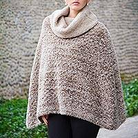 Alpaca blend poncho, 'Andean Paths' - Brown and White Bloucle Alpaca Blend Poncho
