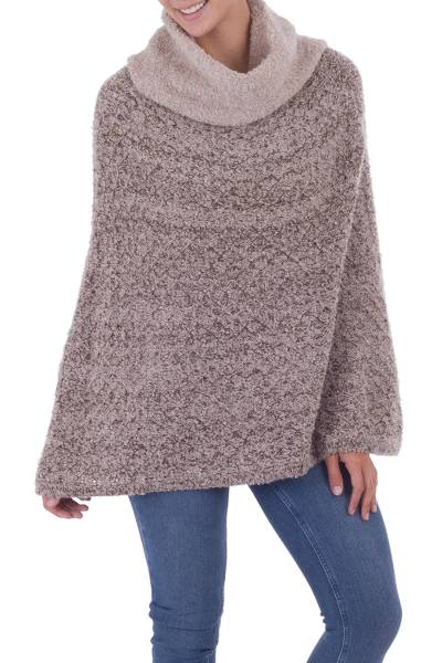 Brown and White Bloucle Alpaca Blend Poncho