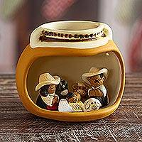 Ceramic nativity scene, 'Vessel Born' - Artisan Crafted Peruvian Nativity Scene