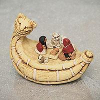 Ceramic nativity scene, 'Born on the Totora' - Peruvian Nativity Scene Ceramic Sculpture