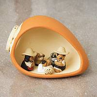 Ceramic nativity scene, 'Pumpkin Love' - Peruvian Fair Trade Nativity Scene