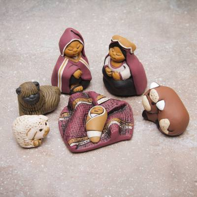 Ceramic nativity scene, 'Born in Cuzco' (set of 7) - Handpainted Traditional Nativity Scene from Peru Set of 7