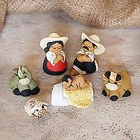 Ceramic nativity scene, 'Characato Born' (set of 7) - Artisan Crafted Peruvian Nativity Scene Set of 7