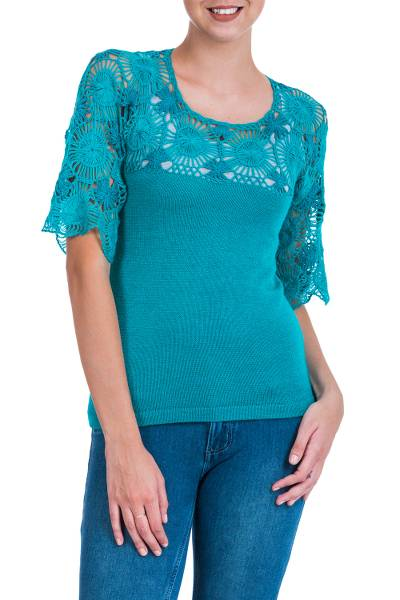 100% alpaca tunic, 'Sicuani Muse' - Turquoise Alpaca Sweater Tunic with Hand Crocheted Flowers
